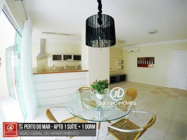 Apartamento Semi-Mobiliado com 1 Suíte + 1 Dorm + 1 Vaga próximo ao Mar