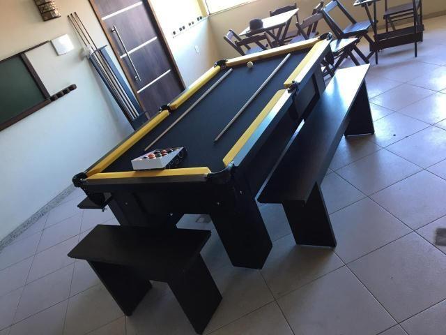 Mesa de Sinuca Cor Preta Tabelas Amarelas Modelo CRV6121