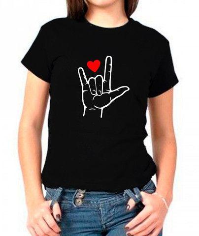 Camiseta t-shirt melville estampada libras lingua brasileira de sinais
