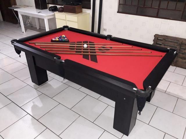 Mesa de Bilhar Personalizada Atlético Tecido Vermelho Modelo CAP4332 - Foto 2