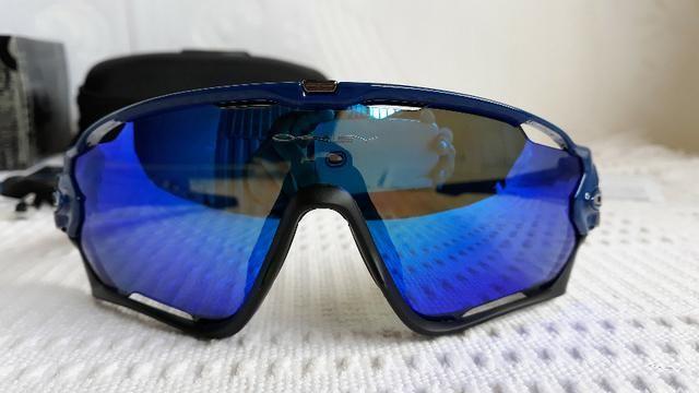 4814f1580 Óculos Oakley Jawbreaker Armação Preta/Azul Prizm Com 4 Lentes Reserva -  Ciclismo