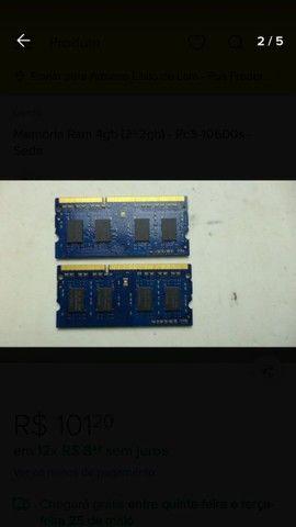 Memória RAM DDR3 2x2gigas total 4gigas - Foto 2