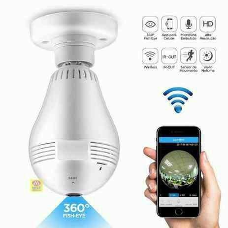 Lâmpada Espiã 360°??: Lâmpada Câmera Espiã Inteligente 360° - Foto 4