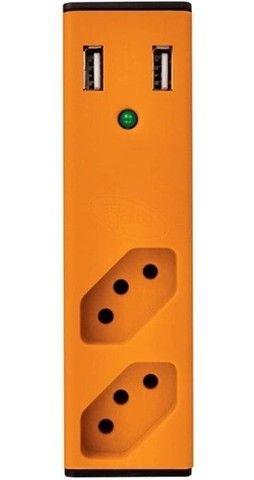 Filtro De Linha Com Carregador Usb 2,1a Bem Ligado - Laranja - Foto 2
