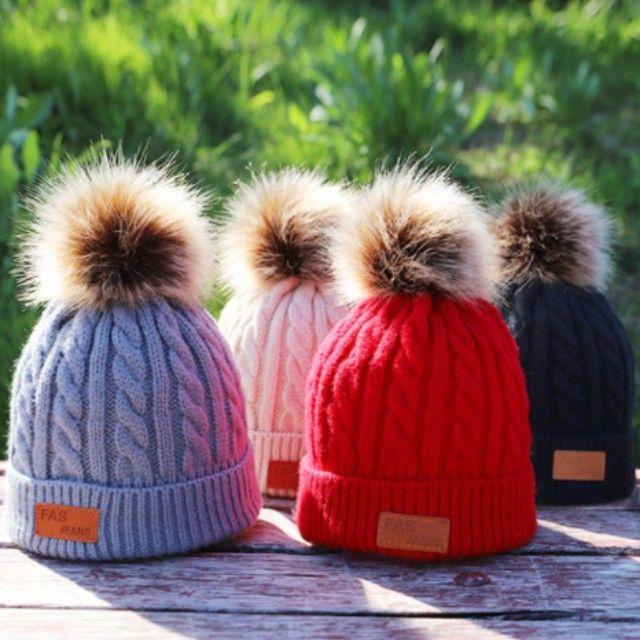 Chapéus de algodão de malha infantis, chapéus quentes e confortáveis de algodão - Foto 2