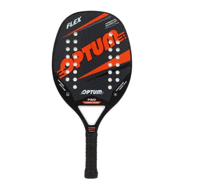 Raquete De Beach Tennis Optum Pro Flex 2020 - Carbon Frame - Preto e Laranja - Foto 2