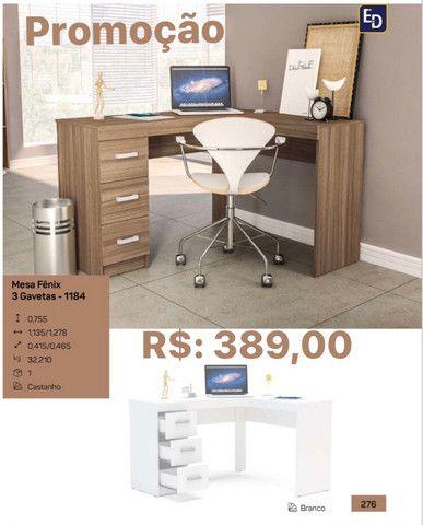 Mesa de escritório com gavetas entrego