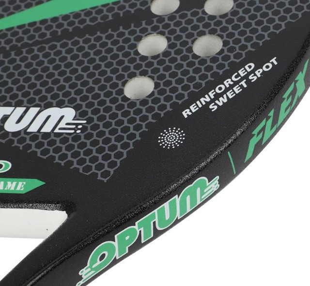 Raquete De Beach Tennis Optum Pro Flex 2020 - Carbon Frame - Preto e Verde - Foto 5