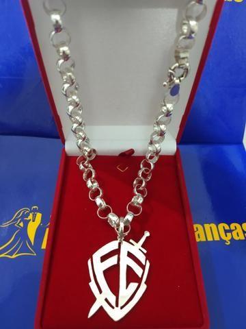 Cordão Elos português com pingente FE prata 950 - Foto 2