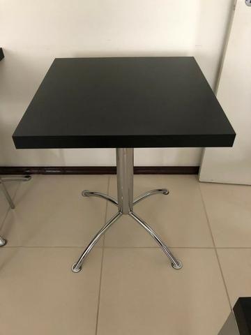 Mesa Quadrada 60x60 - Cadeira Inox e Madeira
