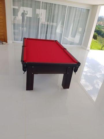 Mesa Madeira Tauari Cor Preta Tecido Vermelho Mod. ACPH4755 - Foto 2