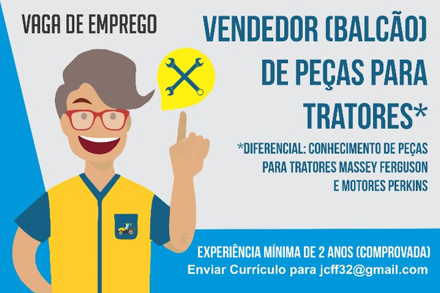 Vendedor (Balcão) de Peças para Tratores com Experiência