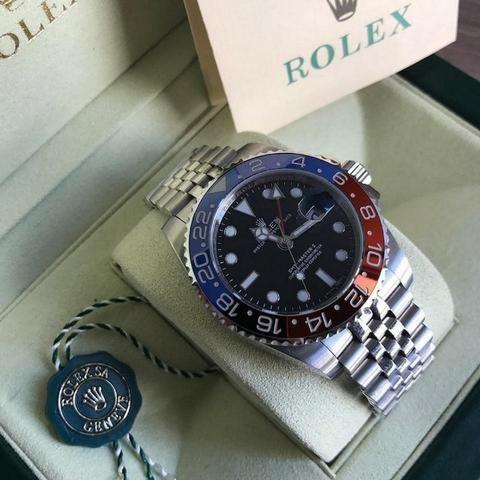aef9f4b6634 Relógio Rolex Gmt Master 2 Pepsi Eta Suiço + Caixa E Documentos ...