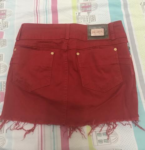Saia Jeans vermelha - Foto 2