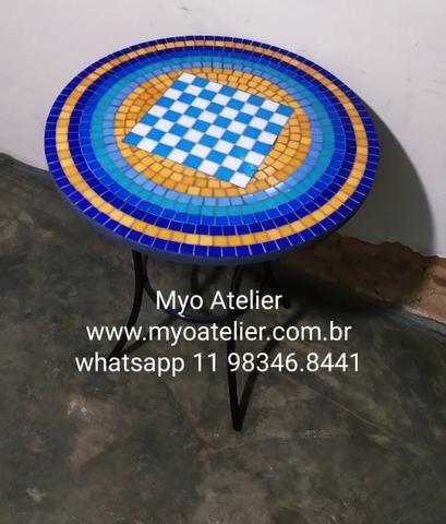 Mesa Xadrez Dama Mosaico