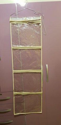 Porta roupa/treco transparente/bege - Foto 2