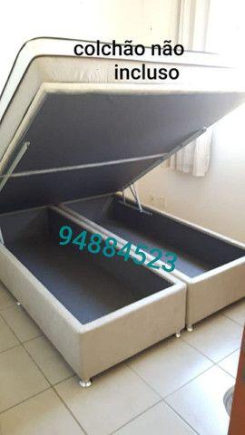 Box baú (158×198×41)queen size bi partido direto da fábrica.  - Foto 3