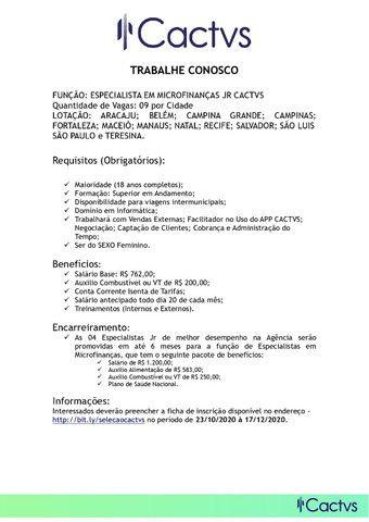 Especialista em microfinanças junior cactvs