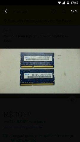 Memória RAM DDR3 2x2gigas total 4gigas