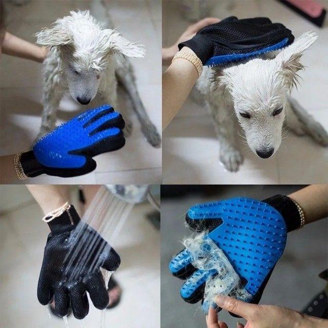 Luva Nano Magnética Tira Pelos Pets Cães e Gatos - Foto 4