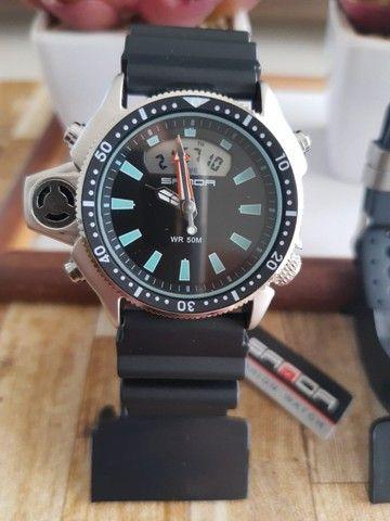 Relógio Sanda 3008 analógico e digital à prova d'água com pulseira e caixa reforçada - Foto 3