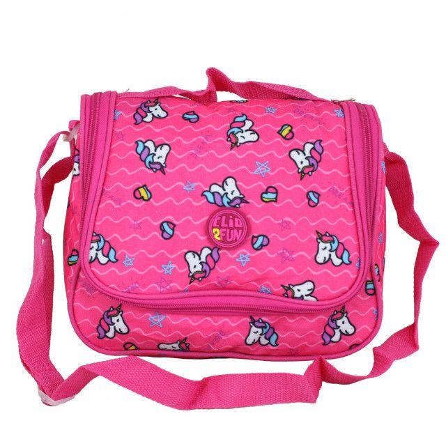 Bolsa Térmica rosa com estampa de unicornios