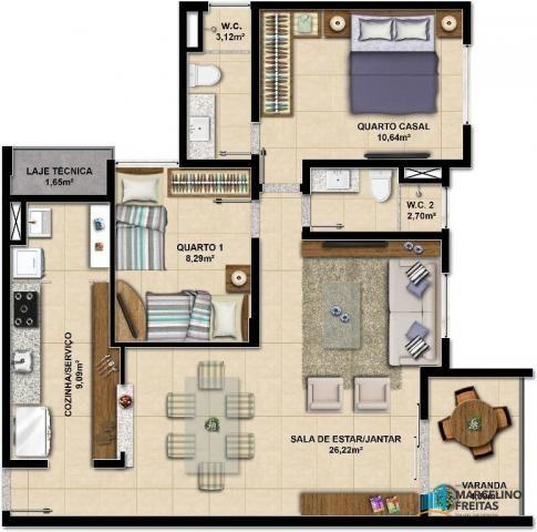 Apartamento c/3 quartos à venda, 77 m² por R$ 359.504 - Eusébio - Eusébio/CE - Foto 13