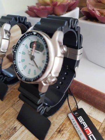 Relógio Sanda 3008 analógico e digital à prova d'água com pulseira e caixa reforçada - Foto 4