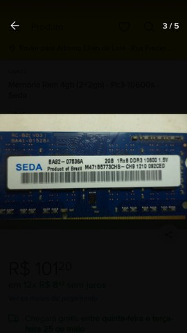 Memória RAM DDR3 2x2gigas total 4gigas - Foto 3