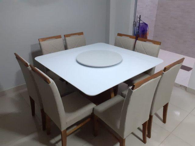 Mesa de jantar quadrada madeira e pintura laka - Foto 2