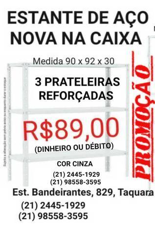 Estante (Nova) de Aço / Ferro 3 prateleiras R$89,00
