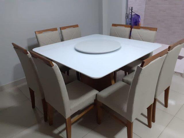 Mesa de jantar quadrada madeira e pintura laka - Foto 3
