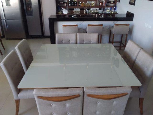 Sala de jantar quadrada de 8 lugares nova completa pronta entrega - Foto 6