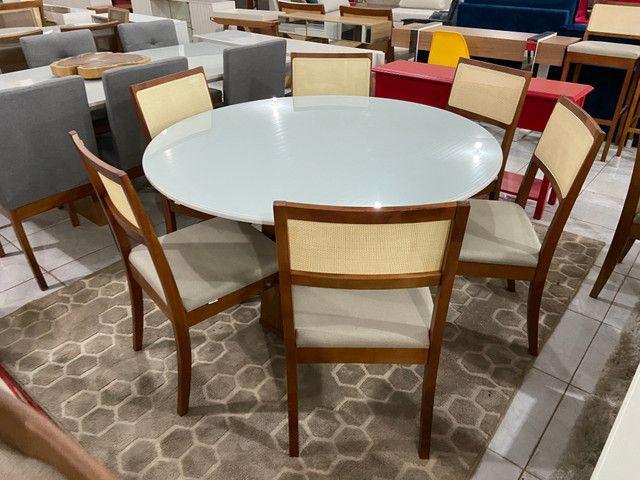 Mesa redonda de jantar de 6 lugares completa - Foto 2