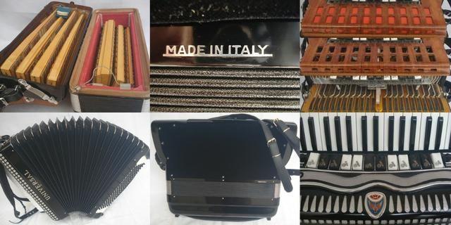 Acordeon sanfona 120 baixos universal italiana linda - Foto 6