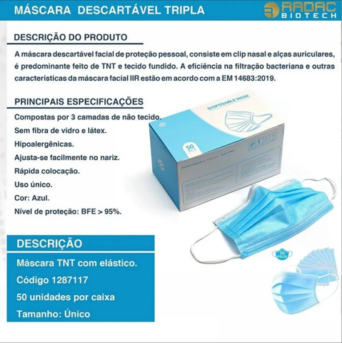 Kit 50 Máscaras De Proteção Descartável Hospitalar 3 Camadas - Foto 2