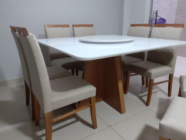 Mesa de jantar quadrada madeira e pintura laka - Foto 4