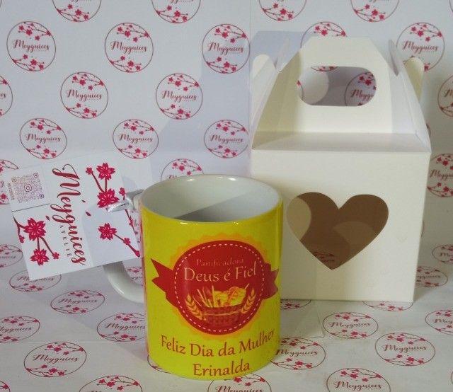 Caneca de cerâmica + Caixinha de coração  - Foto 5