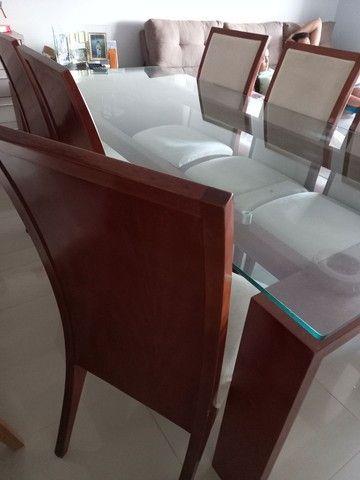 Mesa com cadeiras de 6 lugares tampo de vidro - Foto 3