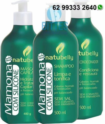 Kit Mamona Shampoo 500 ml Condicionador 500 g e Máscara 480g Natubelly