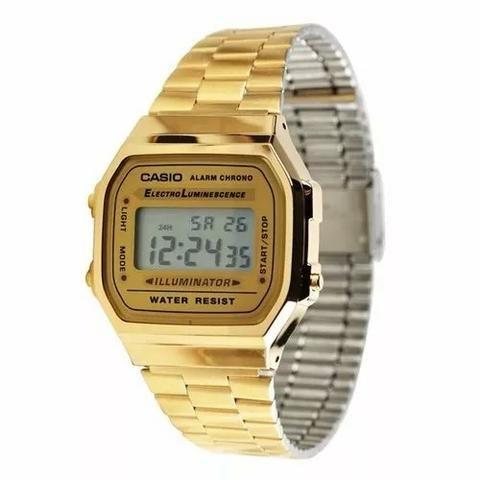 ebd109a21bd Relógio Casio vintage unissex dourado - Bijouterias