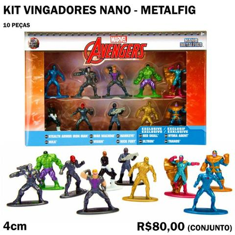 Kit Vingadores Nano Metalfigs - 10 Peças