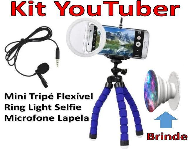 Kit Youtuber Tripé Flexível, Microfone Lapela, Ring Light Selfie. Brinde: Socket Pocket