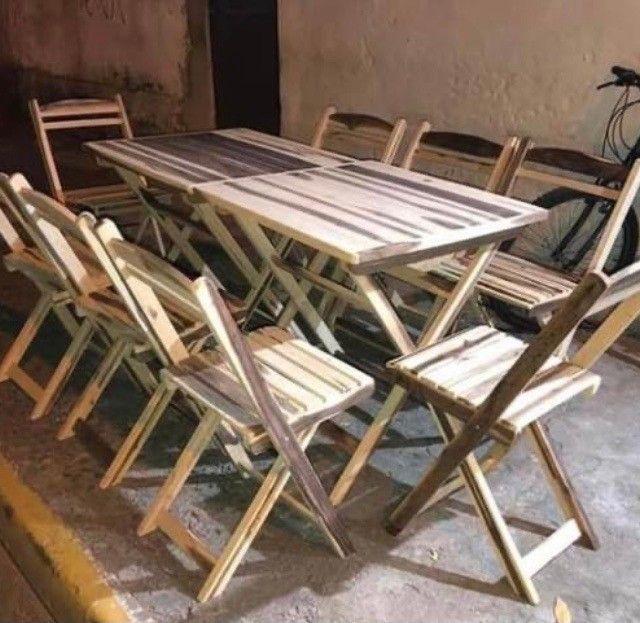 Mesa cadeira de madeira - Foto 4
