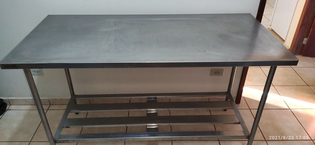 Mesa bancada inox restaurante/padaria