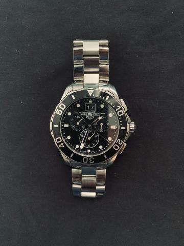 256de401a8e Relógio Tag Heuer Acquaracer 300m 43mm Aço Cronógrafo + Brinde  John Hardy  Prata