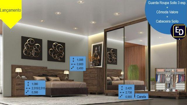Guarda Roupa Sollo gigante 2,75m 3 portas espelhadas com opção de conjunto de quarto - Foto 2