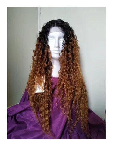 Peruca Lace Front Cacheada Ombre Hair Longo - Foto 3