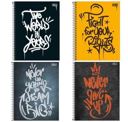 Kit 4 Cadernos Espiral Graffiti