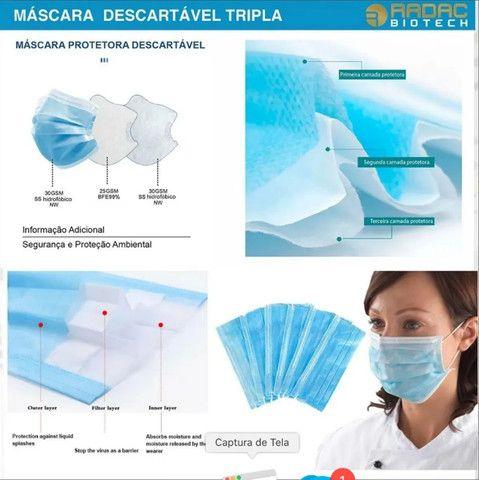 Kit 50 Máscaras De Proteção Descartável Hospitalar 3 Camadas - Foto 5